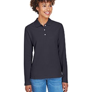D110W Devon & Jones Ladies' Pima Piqué Long-Sleeve Polo Thumbnail